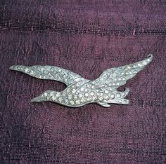Vintage Figural Silver Plate Bird Brooch w/ Rhinestones - Silvertone Large Flying Bird Pin - Goose in Flight Brooch - Almost 4 Inches Wide