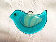 Fused Glass Bird Sun Catcher Ornament by GlassBySarahAllen on Etsy, $9.00