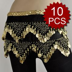belly dance coin hip scarf | ... updates to Wholesale Lot 10 Belly Dance Wave Shape Gold Coin Hip Scarf