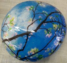 Blossom+Time+hand+painted+art+rock+by+KarensFineCrafts+on+Etsy,+$40.00