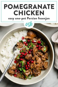 This pomegranate chicken is a super flavorful and unique dinner recipe that's packed with flavor. Naturally paleo and gluten free, serve this chicken and walnut pomegranate stew over rice, couscous, or cauliflower rice and garnish with fresh parsley and juicy pomegranate seeds. This pomegranate chicken is a healthy and delicious winter dinner recipe that's easy enough for home cooking, and impressive enough for a dinner party. #chicken #paleo Winter Dinner Recipes, Paleo Dinner, Healthy Dinner Recipes, Whole Food Recipes, Cooking Recipes, Xmas Recipes, Oven Recipes, Kitchen Recipes, Party Chicken
