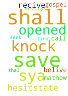 the message to all -  dont hesitstate to call out the name of jesus belive he can save you as the gospel sya the only name that can save is the name of jesus and in mathew77 ask you shal recive, seek you shall find ,knock it shall be opened  Posted at: https://prayerrequest.com/t/DC9 #pray #prayer #request #prayerrequest