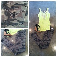 ZOA'S NEON GREEN SHEER TANK PAIRED WITH ARMY JEANS AND BLACK WEDGES IS THE BEST COMBINATION OF BOLD COLORS AND PATTERNS WITH AN EDGE. THIS IS A GREAT DAY TO NIGHT LOOK!!