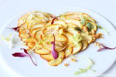 Carpaccio d'ous de reig. Setas de temporada en Via Veneto, restaurante de Barcelona. Estrella Michelin.