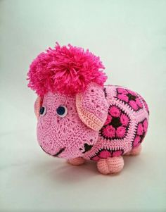 Handmade crochet sheep african flower