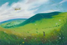 NICHOLAS HELY HUTCHINSON  Among the Wild Flowers - Fontmell Down Oil on board 10 x 14 ins