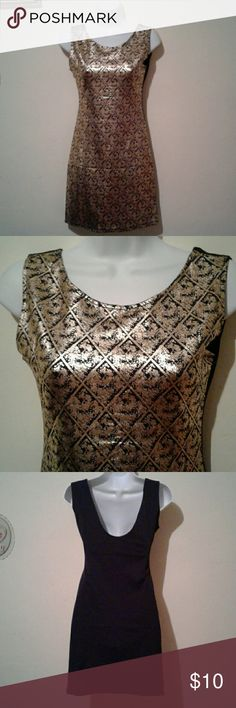 "Golden and black mini dress Beautiful mini dress gold and black New with out tag   Medium length 31"" Large length 33"" Dresses Mini"