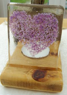 Tea Light Candle Holder with Purple Heart Fused Glass by shineon2, £9.00 - Display Stand