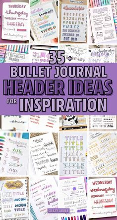 Check out the ultimate collection of bullet journal header and title ideas for inspiration! Bullet Journal Headers, Bullet Journal Banner, Bullet Journal Writing, Bullet Journal Aesthetic, Bullet Journal Ideas Pages, Bullet Journal Layout, Bullet Journal Inspiration, Bullet Journals, Journal Fonts