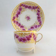 4:00 Tea...Spode...teacup and saucer with purple garlands, circa 1810