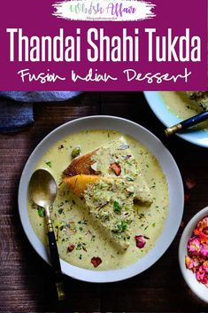 Thandai Shahi Tukra is a fusion dish which nicely combines the desi flavours and yet adds a new touch to Thandai. Do try this recipe this festive season. Indian Dessert Recipes, Indian Sweets, Indian Snacks, Desert Recipes, Indian Appetizers, Indian Recipes, Holi Recipes, Sweets Recipes, Easy Sweets