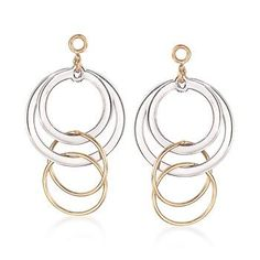 """Ross-Simons - 14kt Yellow Gold and Sterling Silver Circle Drop Earring Jackets. 1"""" - #460705"""