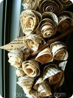 Rustic Burlap Wreath Book page roses