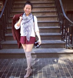 Stuart Weitzman Highland Topo Taupe boots with burgundy Zara coat and gray Alexander McQueen skull scarf
