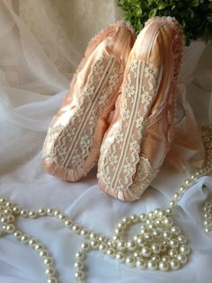 Ballet shoes decorated with lace and pearls by IsabellaRoseDream
