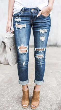 $32.99! Relaxed Blue Destroyed Denim Jeans GetreadyforFallfashion!Findfashionableoutfitsforthenewseason.Cheaponlinestore2017newfashiontrend.Weekendfashion.