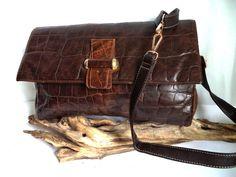 Spectacular 80s ANTONIO SCEPI Clutch Messenger Bag XL Shoulder bag Crocodile Brown Distressed Leather Faux Alligator Briefcase Vintage purse by MushkaVintage3 on Etsy