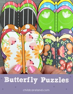 Butterfly puzzles for visual discrimination skills. Early Learning Activities, Preschool Art Activities, Classroom Activities, July 14th, Writing Skills, Puzzle Pieces, Puzzles, Card Stock, Butterfly