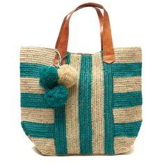 Striped Pom Pom Tote Havana Aqua Bag