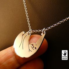 SLOTH sterling silver hand cut. Slow Living Sloth. by StefanoArt