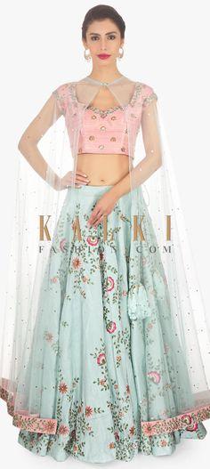 7d9ed38c756 Kriti Kharbanda in Kalki blue lehenga with peach blouse and net cape. Cape  LehengaLehenga Crop TopJacket ...