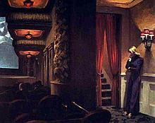 EDWARD HOPPER: NEW YORK MOVIE 1939 OIL PAINTING REPRODUCTION.