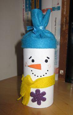 Muñeco nieve rollo papel baño