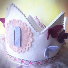felt birthday crown - butterflies - waldorf girl birthday party