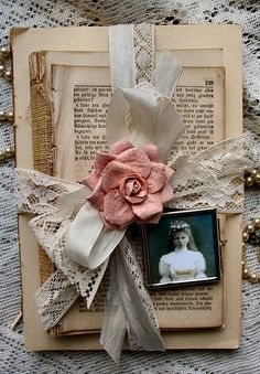 Little Shabby Vintage Books - this would be a great idea for my heritage book items