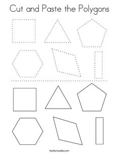 Cut and Paste the Polygons Coloring Page - Twisty Noodle Shape Worksheets For Preschool, Shapes Worksheet Kindergarten, Cut And Paste Worksheets, Shapes Worksheets, Free Preschool, Shape Coloring Pages, School Fun, Pre School, Polygon Shape