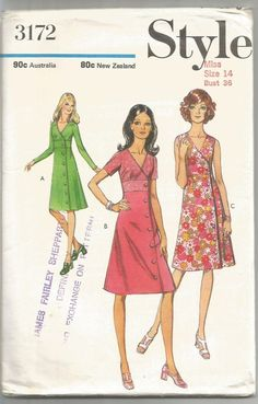 Style Sewing Pattern 3172, Vintage 1970's Cross-over Front Dress, Size 14, Uncut #Style #Patterns