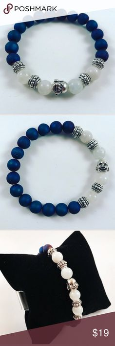 Women blue druzy quartz moonstone buddha bracelet FREE GIFT WITH EVERY PURCHASE !! LET ME KNOW IF YOU WANT MEN OR WOMEN GIFT WHEN PURCHASING Women beaded bracelet. Fits most , 6 to 7.5 inch wrist. Handmade by me , never worn by anyone. Made with Blue druzy quartz beads and moonstones. Silver plated deco Beads . I ship fast!!✈️Bundle and save !! ( 10 % off bundles) . Any questions let me know ! No transactions outside Poshmark!! Jewelry Bracelets