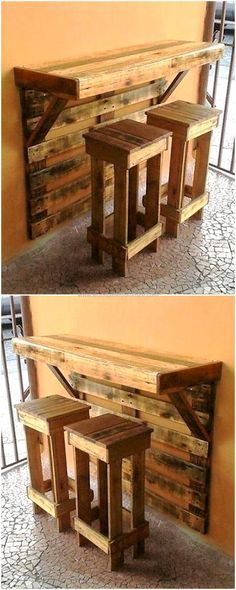 This is artistically constructed pallets wood breakfast table, crafted to provide your kid's a wonderful place so that they can do their breakfast easily. This wooden table with two medium-size wood pallets benches seems attractive and unique as shown in the picture given below.