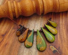 Unique Polymer Clay Necklace with Gradated Blend from Brown to