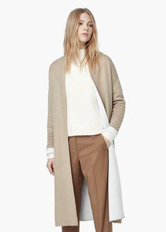 Lange baumwollstrickjacke - Cardigans und pullover für Damen   MANGO