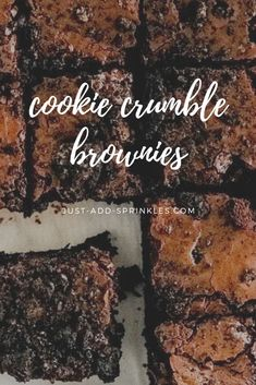 The #best fudgy brownie recipe with crushed chocolate sandwich cookies  mixed into the batter. These brownies have a little extra texture but  are still fudgy & delicious! #brownies #cookiecrumble  #justaddsprinkles #oreo #cookiecrumbs #browniesfromscratch #homemade #chocolate