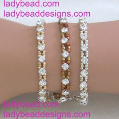 Swarovski Rhinestone Bracelet with Czech Metallic Seed Beads http://ladybead.com/contents/en-us/d11_bracelets_crystal_pearl_bead_jewelry.html