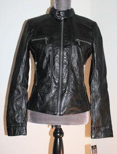 Michael Kors Black Leather Ladies Motorcycle Biker Jacket Coat $350
