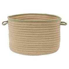 """Braided indoor/outdoor basket. Made in the USA.   Product: BasketConstruction Material: 100% PolypropyleneColor: OliveFeatures:  Made in the USABraidedCan be used indoors or outdoors Dimensions: Small: 10"""" H x 14"""" DiameterLarge: 12"""" H x 18"""" DiameterCleaning and Care: Spot clean with any common household cleaner"""