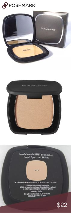 BareMinerals Ready SPF20 Foundation FAIRLY LIGHT RETAIL $29. NEW FULL SIZE 14g/0.49oz BareMinerals SPF 20 Ready foundation coverS everything but feel like nothing.  108% increase in skin hydration, diminish appearance of fine lines & wrinkles. Made of only pure, crushed minerals from the earth, Looks like a powder, feels like a cream and buffs on like silk, giving skin a natural luminosity.  The coverage is flawless, free of preservatives, talc, oil, waxes, fragrances, and other chemicals…
