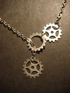 Steampunk Gear and Cog Lariat Style Necklace Antique Silver in by CreepyCreationz, $16.00