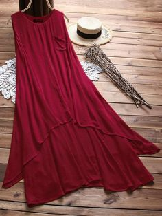 Cheap best O-NEWE Women Solid Layers Sleeveless Vintage Maxi Dresses on Newchic, there is always a plus size casual dresse suits you! Simple Pakistani Dresses, Pakistani Dress Design, Simple Dresses, Casual Dresses, Fall Dresses, Elegant Dresses, Formal Dresses, Frock Fashion, Indian Fashion Dresses