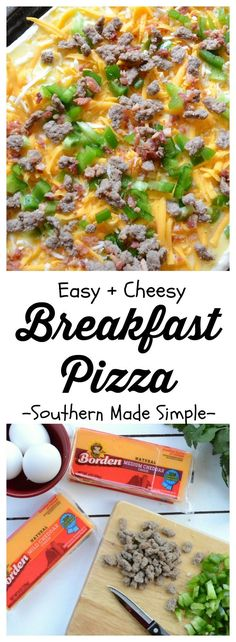 With the start of the new year, why not make it a goal to switch things up during breakfast and indulge in a delicious savory breakfast pizza made with lots of toppings and ooey-gooey cheese? This recipe for Cheesy Breakfast Pizza is so easy to make, & the whole family will love it! #BordenCheeseLove #ad