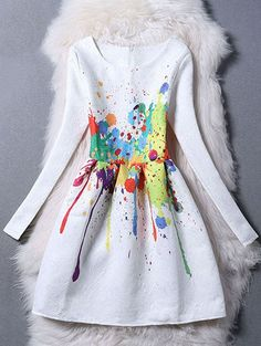 Scrawl Painting Skater Dress - WHITE S