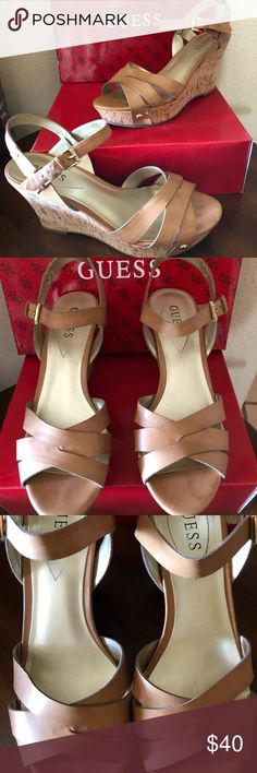 "Guess Cork Wedge Size Women's 10 Guess Wedge. 4"" heel. Love these shoes but never wear them. Only worn three times. No scuffs or stains. Hardly any toe impressions on front. Guess Shoes Wedges"