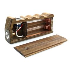 wooden box mod: leight:113mm width:62mm height:25mm electricity:parallel(并联) voltage:3.7v-7.4v(can use 1pcs aw 18650 or 2) power:7.4w-14.8w(can use 1pcs aw 18650 or 2) Ohm:0.8o-1.6o(depend on the atomizer's wire)