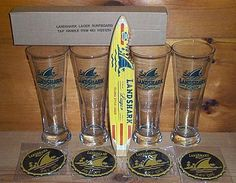 Landshark Lager Tap Handle Keg Marker 4 Beer Pint Glasses & Bar Coasters New