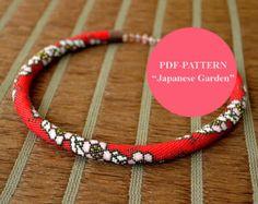Bead crochet necklace pattern Bead crochet pattern Beadwork