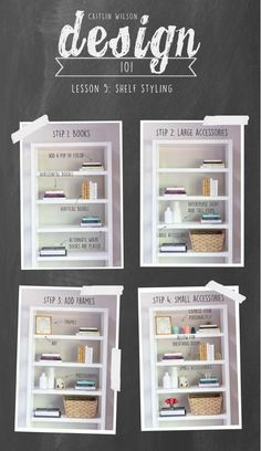 Shelf styling tips from Caitlin Wilson Design Interior Design Tips, Home Interior, Home Design, Interior Design Living Room, Interior Decorating Tips, Luxury Interior, Design Ideas, Styling Bookshelves, Decorating Bookshelves
