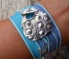 Silver Beach Jewelry, Sea Urchin Silk Wrap Bracelet in Sterling Silver
